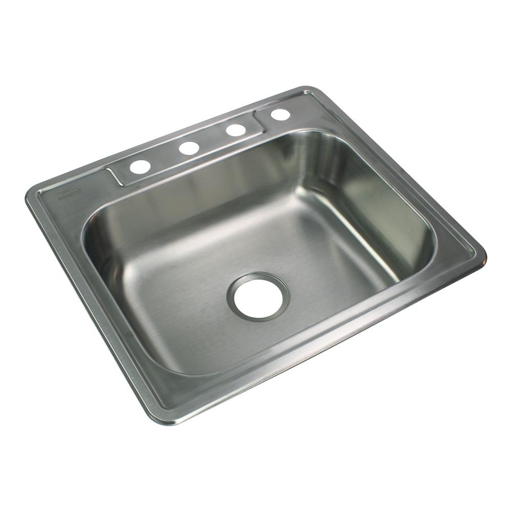 Transolid Select Drop-In Stainless Steel 25 in. 4-Hole Single Bowl Kitchen  Sink in Brushed Stainless Steel