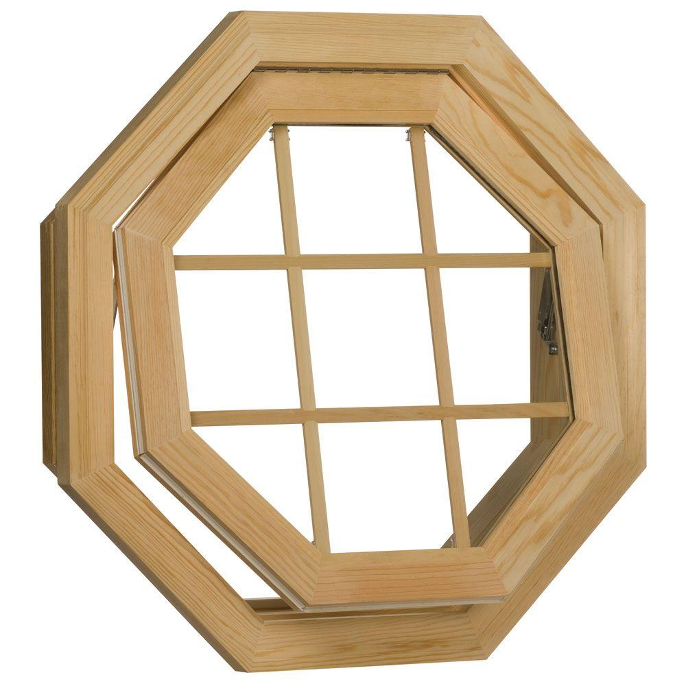 Century Wood Venting Octagon Windows 24 in.x24 in. Unfinished Rough Openingwith Insulated Glass 9LT Grid and Screen-DISCONTINUED