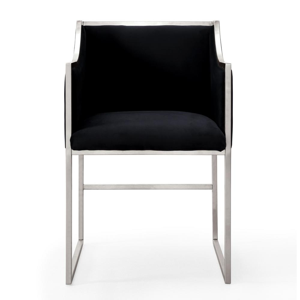 TOV Furniture Atara Black Velvet Silver Chair