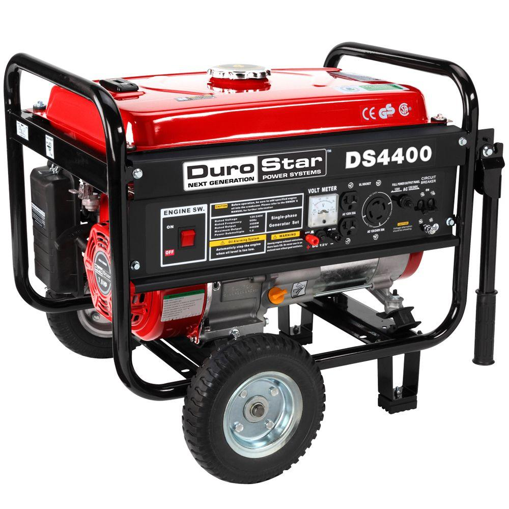 Durostar 4,400-Watt Gasoline Powered Manual Start Portable Generator with Wheel Kit - CARB Approved