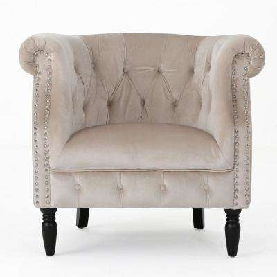 Akira Tufted Champagne New Velvet Club Chair