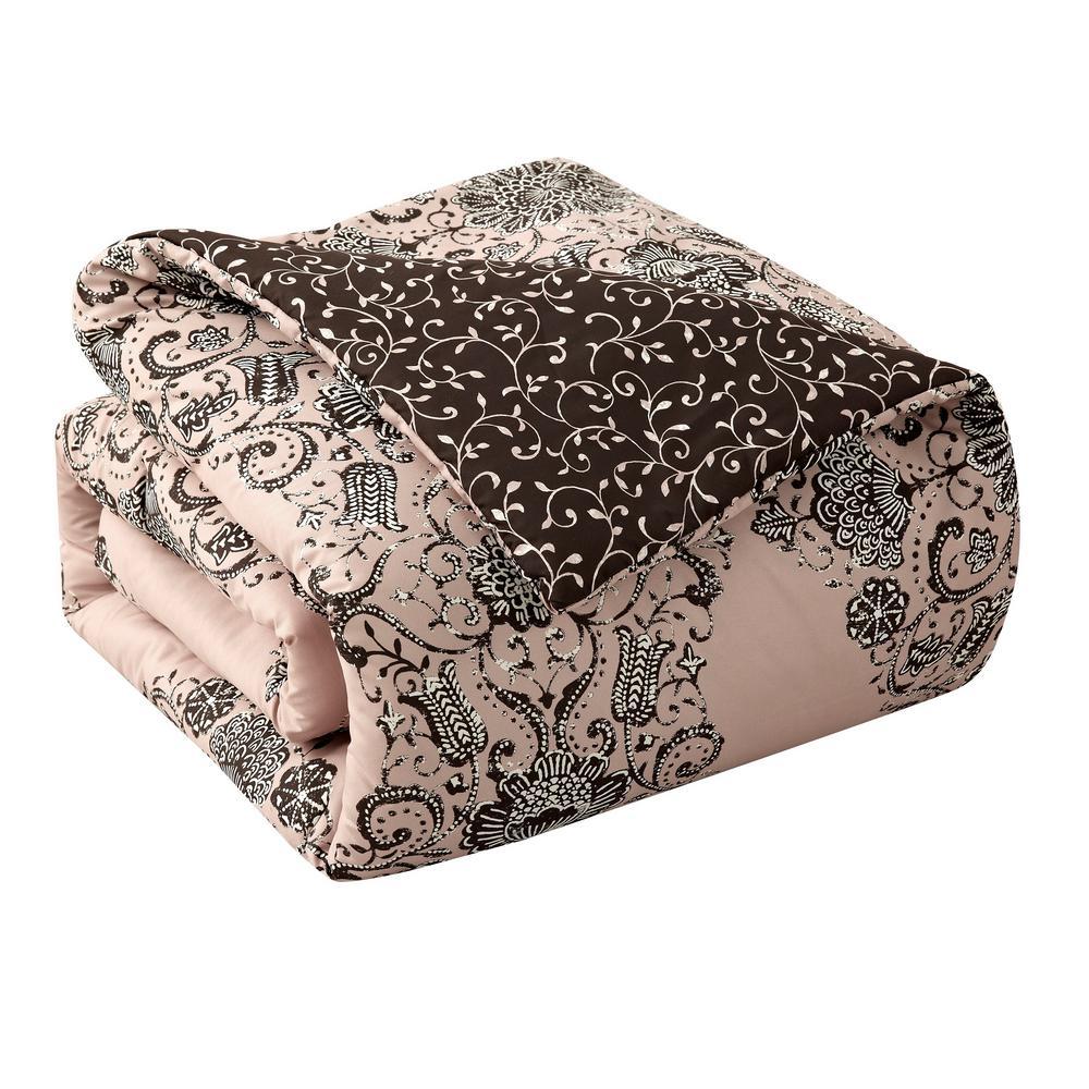 Bardot 7-Piece Blush Floral Queen Comforter Set