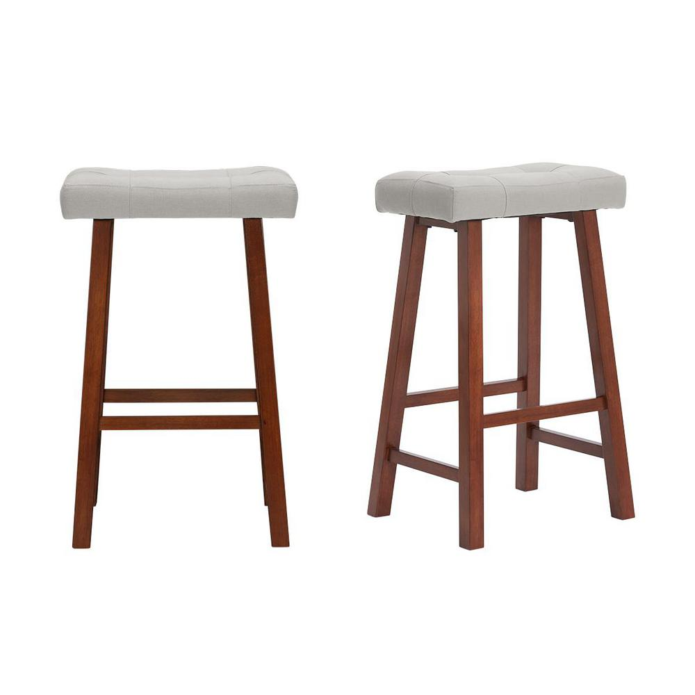 StyleWell Walnut Wood Upholstered Bar Stool with Riverbed Brown Saddle Seat (Set of 2) (18.75 in. W x 30 in. H), Riverbed/Walnut was $99.0 now $59.4 (40.0% off)