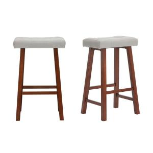 HomeDepot.com deals on StyleWell Walnut Wood Upholstered Bar Stool (Set of 2)