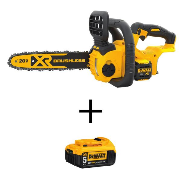 12 in. 20V MAX Lithium-Ion Cordless Brushless Chainsaw (Tool Only) with Bonus 20V MAX Lithium-Ion (1) 5.0Ah Battery
