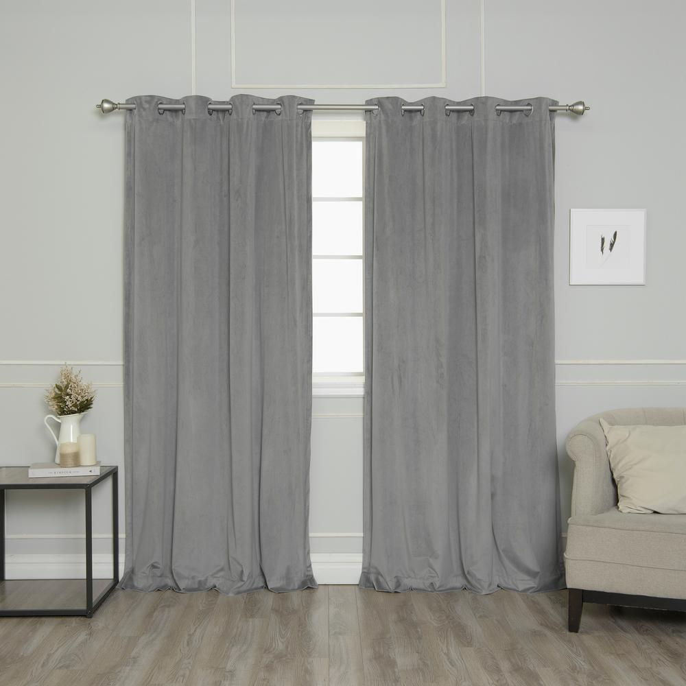 Grey 84 in. L Room Darkening Luster Velvet Grommet Curtain Panel
