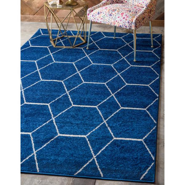 Trellis Frieze Navy/Ivory 10 ft. x 14 ft. Geometric Area Rug
