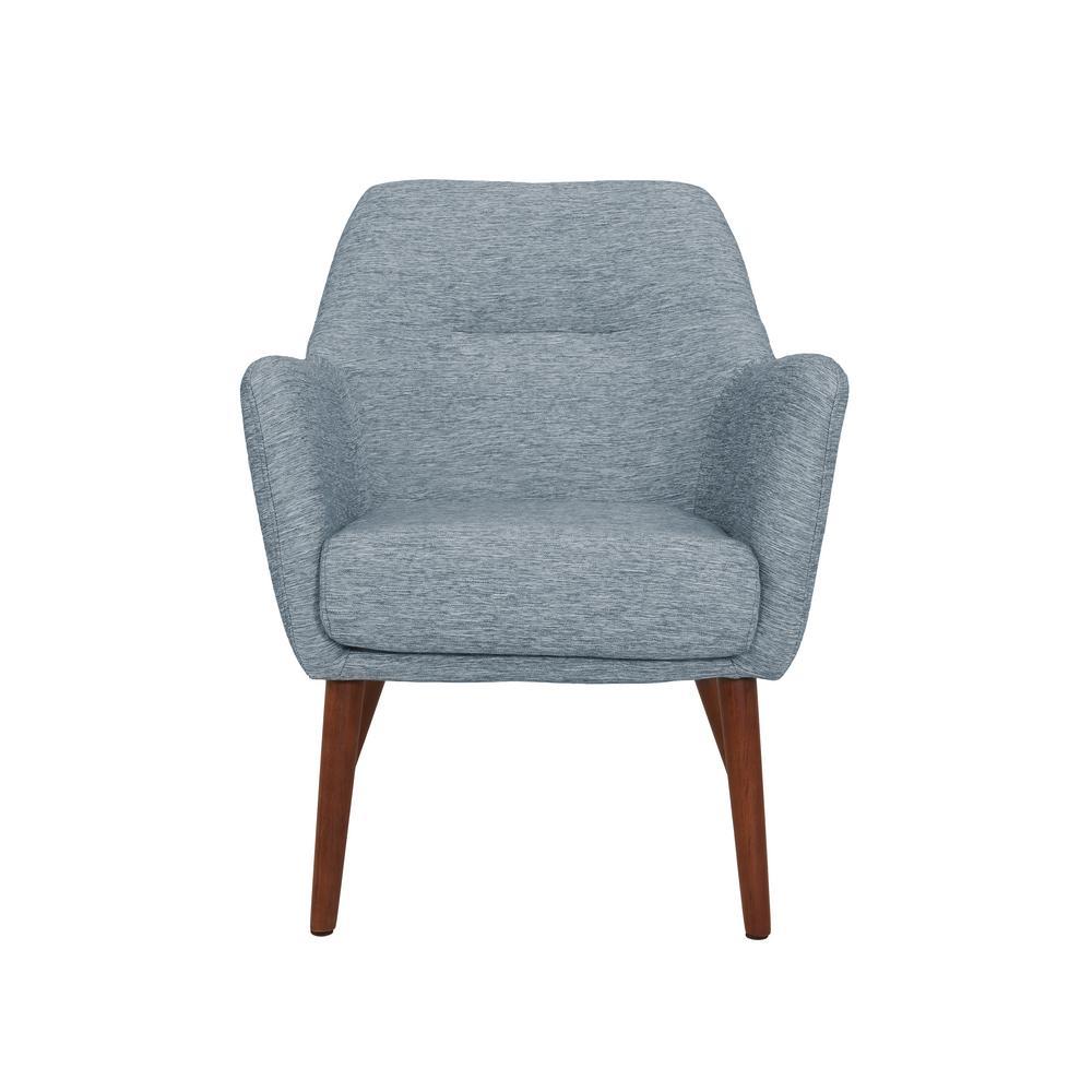 Julesburg Mid-Century Modern Arm Chair in Blue Textured Strie