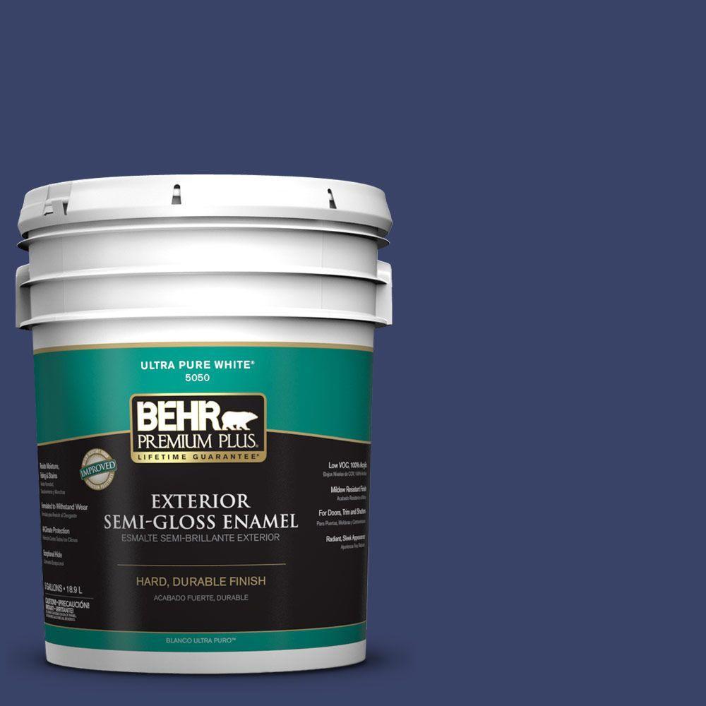 BEHR Premium Plus 5-gal. #S-H-620 Midnight Sky Semi-Gloss Enamel Exterior Paint
