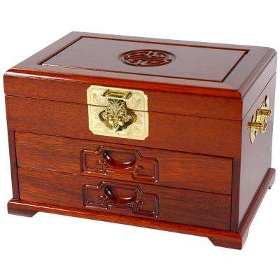 Oriental Furniture Honey Jewelry Box with 2 Drawers