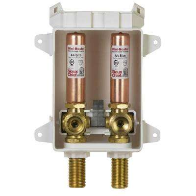 Ox Box ABS Washing Machine Outlet Box with 1/2 in. x 3/4 in. Brass Female Sweat x MPT Mini-Rester Water Hammer Arresters