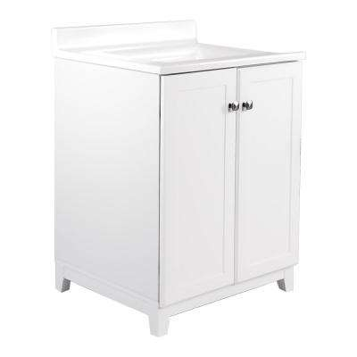 24 in. x 21 in. x 33 in. 2-Door Bath Vanity in White with 4 in. Centerset Solid White CM Camilla Vanity Top with Basin