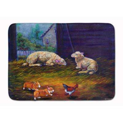 19 in. x 27 in. Corgi Chaos in the Barn with Sheep Machine Washable Memory Foam Mat