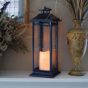 Lumabase-6 in. x 17 in. Dark Brown Traditional Metal Lantern with LED Candle