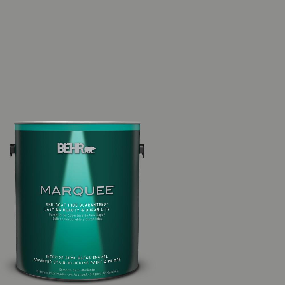 1 gal. #PPU24-20 Letter Gray Semi-Gloss Enamel Interior Paint