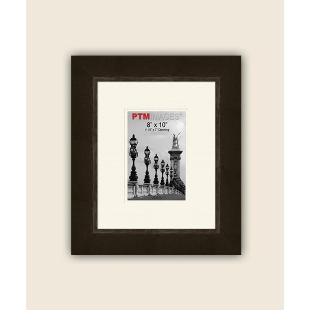 PTM Images 1-Opening 5 in. x 7 in. White Matted Espresso Photo Collage Frame