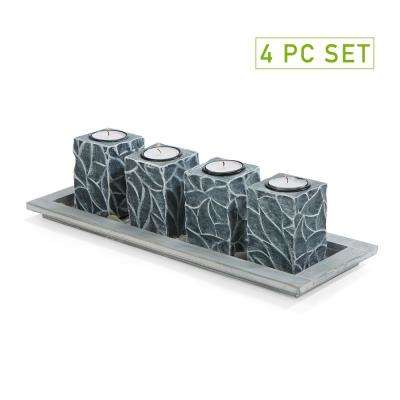Black Plastic Candle Holder with Tray (Set of 4)