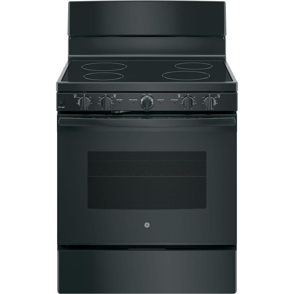 GE 30 in. 5.0 cu. ft. Electric Range with Self-Cleaning Oven in Black