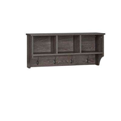 Woodbury Weathered Wood Wall Shelf with Cubbies and Hooks