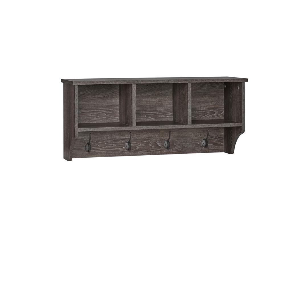 RiverRidge Home Woodbury Weathered Wood Wall Shelf with Cubbies and Hooks