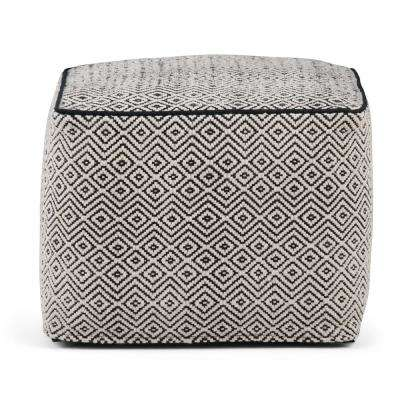 Brynn Patterned Black and Grey Square Pouf
