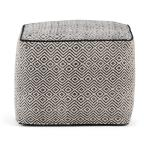 Brynn Transitional Square Pouf in Patterned Black, Natural Cotton