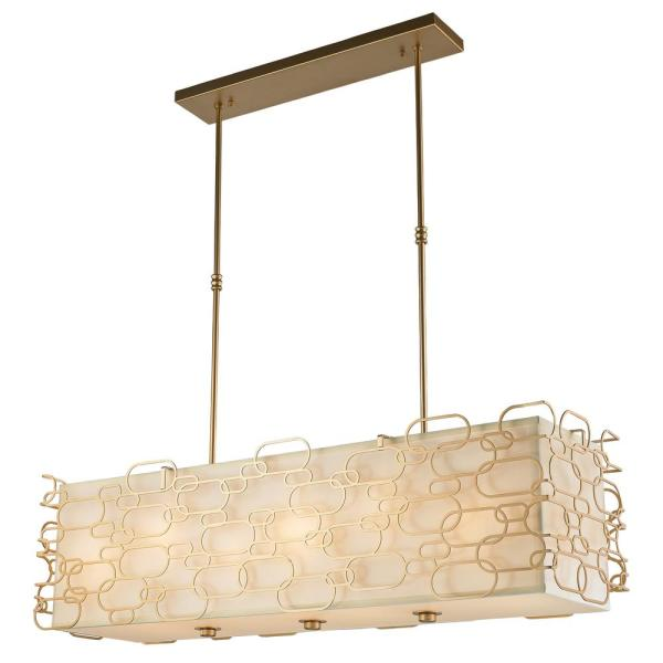 Montauk 12-Light Matte Gold Island Pendant with Ivory Linen Rectangular Shade