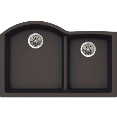 Premium Quartz Undermount Composite 33 in. Rounded Offset Double Bowl Kitchen Sink in Charcoal