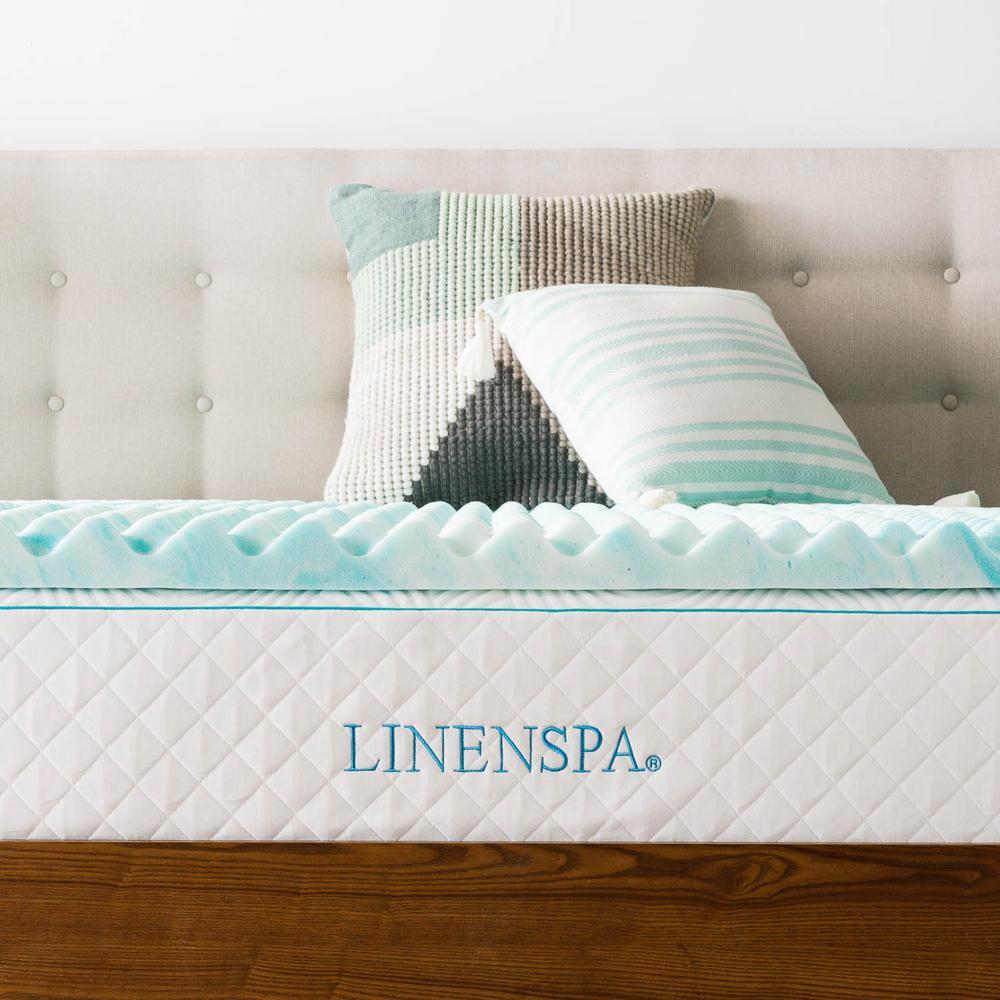 Linenspa 2 in. Full Convoluted Gel Swirl Memory Foam Mattress Topper