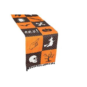 """12/""""x72/"""" or 14/""""x108/"""" Scary Jack O Lantern Table Runners"""
