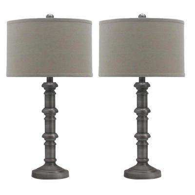 31 in. Antique Silver Metal Stacked Candlestick Table Lamps