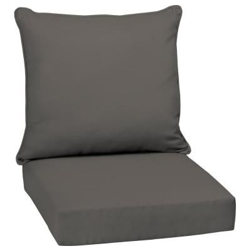 24 x 24 Slate Canvas Texture 2-Piece Deep Seating Outdoor Lounge Chair Cushion