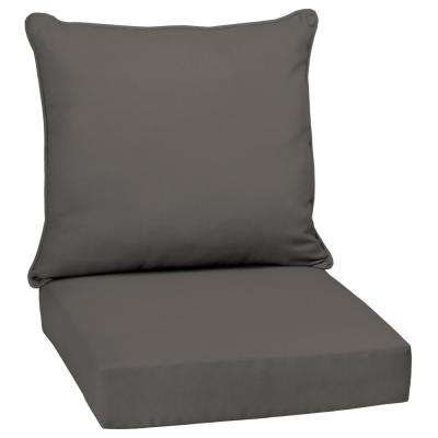 24 x 24 Slate Canvas Texture 2-Piece Deep Seating Outdoor Lounge Chair Cushion