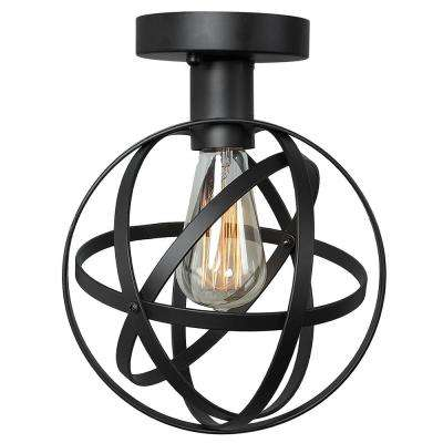 8 in. 1-Light Black Sphere Semi-Flush Mount Light