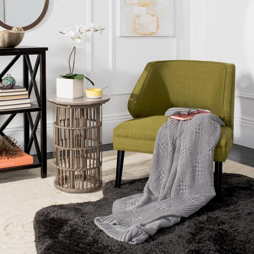 Cozy Knit Grey Throw