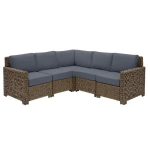 Laguna Point 5-Piece Brown Wicker Outdoor Patio Sectional Sofa Set with CushionGuard Sky Blue Cushions