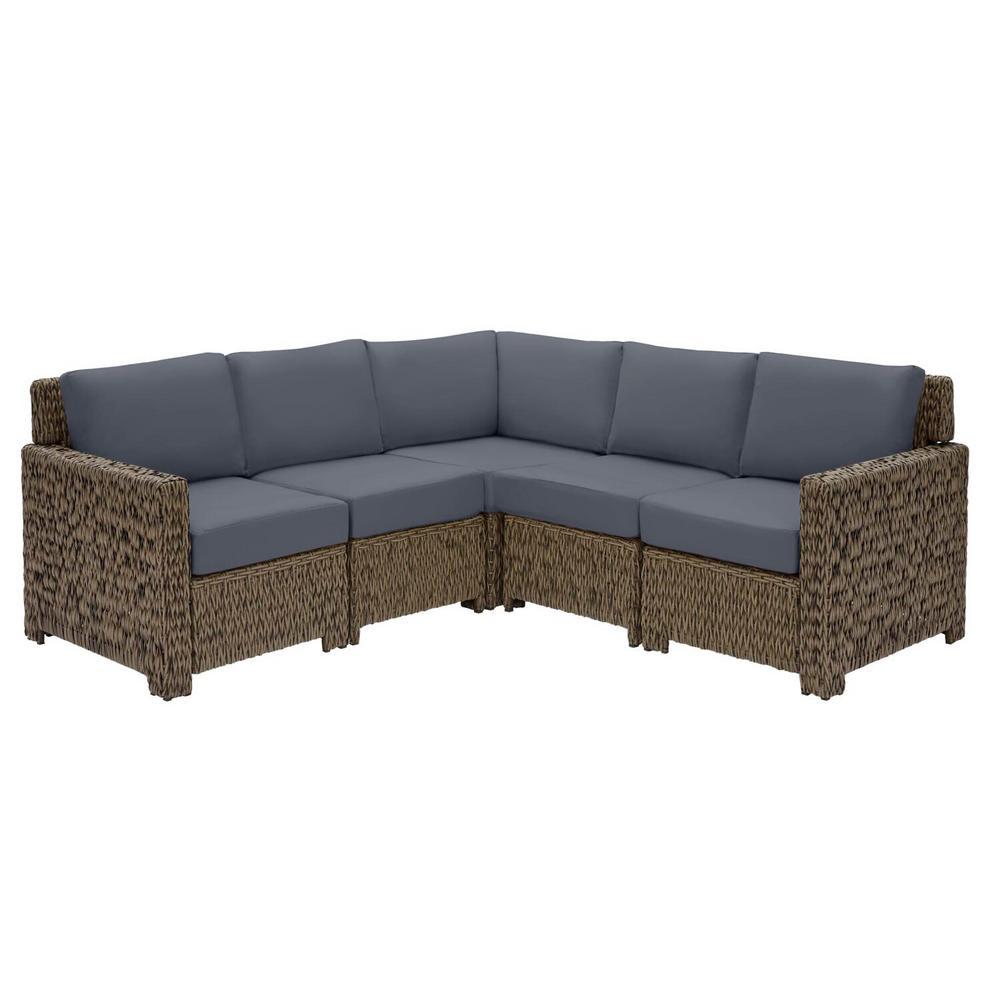 Laguna Point 5-Piece Brown Wicker Outdoor Patio Sectional Sofa Set with CushionGuard Sky Blue Cushions