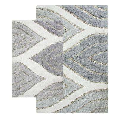 Davenport 21 in. x 34 in. and 24 in. x 40 in. 2-Piece Bath Rug Set in Grey