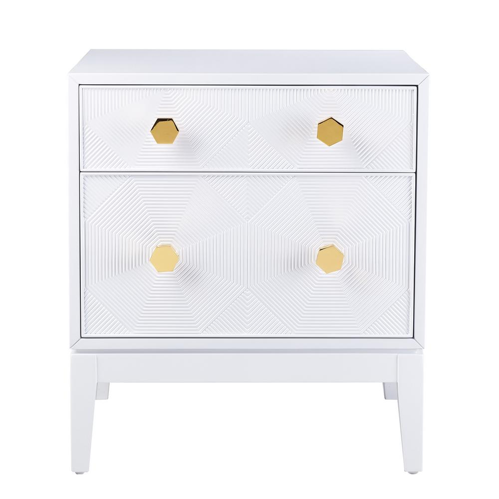 Tov Furniture Mila Lacquer White Side Table
