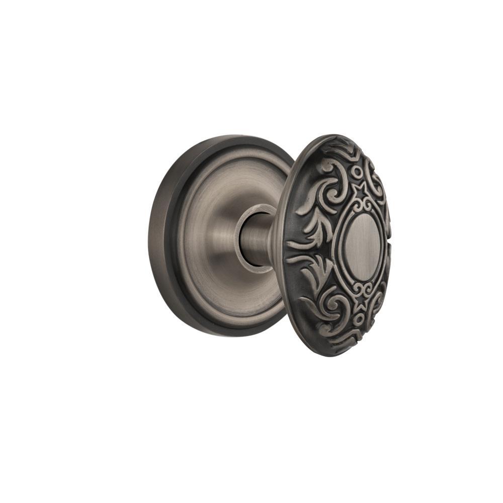 Classic Rosette Double Dummy Victorian Door Knob in Antique Pewter