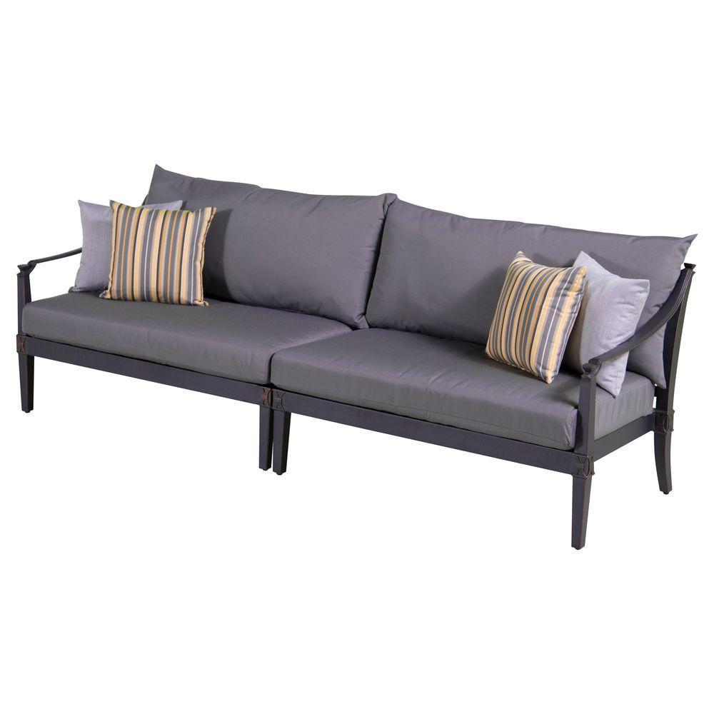 Astoria 2-Piece Patio Sofa with Charcoal Grey Cushions