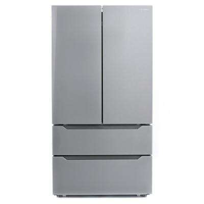 22.5 cu. ft. 4-Door French Door Refrigerator with Recessed Handle in Stainless Steel, Counter Depth