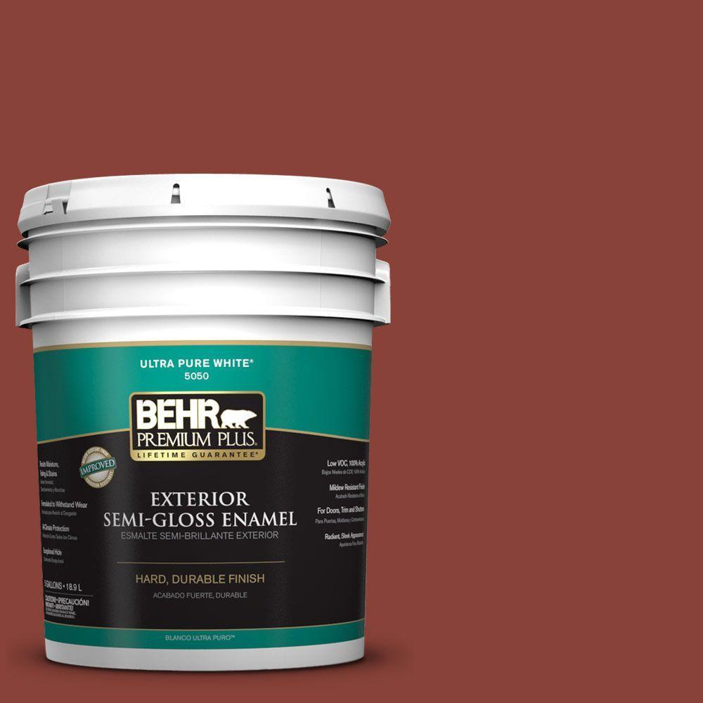 BEHR Premium Plus 5-gal. #PPF-30 Deep Terra Cotta Semi-Gloss Enamel Exterior Paint