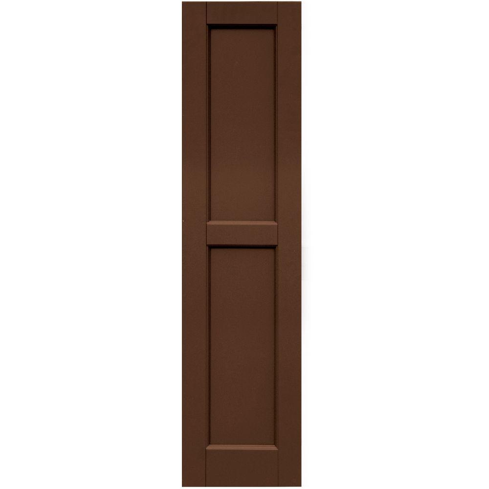 Winworks Wood Composite 12 in. x 49 in. Contemporary Flat Panel Shutters Pair #635 Federal Brown