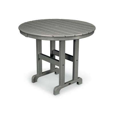 La Casa Cafe 36 in. Slate Grey Round Plastic Outdoor Patio Dining Table