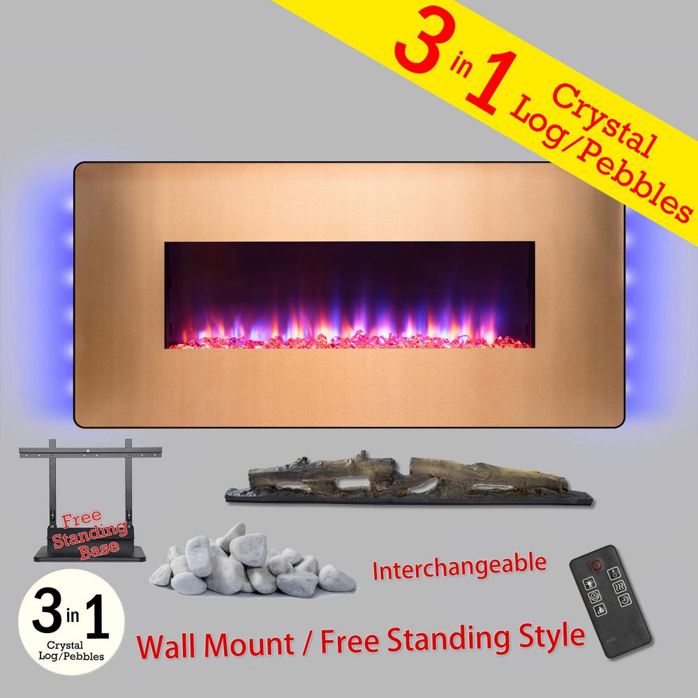 Wall Mount Freestanding Convertible Electric Fireplace Heater In Gold W Pebbles