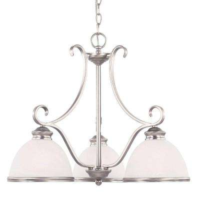 3-Light Chandelier Pewter Finish White Marble Glass