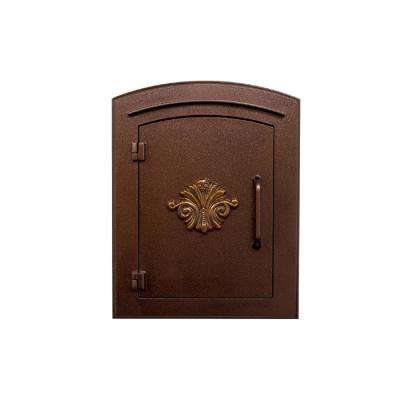 Manchester Antique Copper Column Mount Non-Locking Mailbox with Decorative Scroll Logo