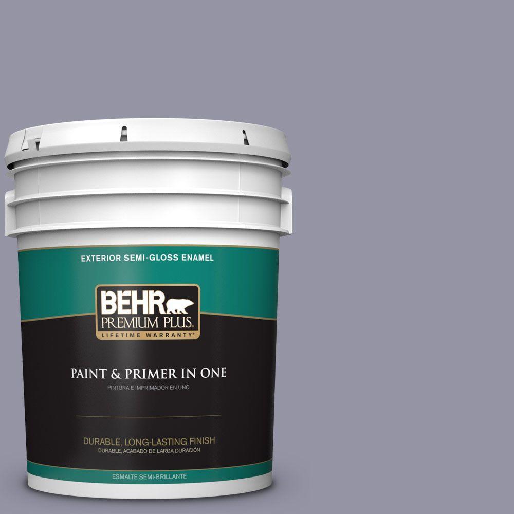 BEHR Premium Plus 5-gal. #640F-5 Ash Violet Semi-Gloss Enamel Exterior Paint