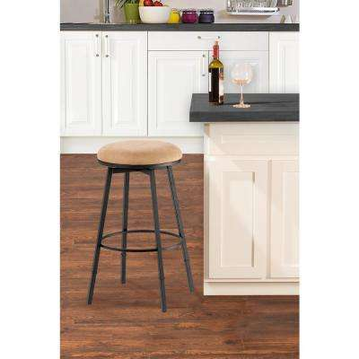 Sanders Adjustable Height Matte Black Cushioned Bar Stool